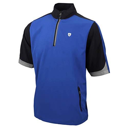 Island Green Herren Golf Mens Short Sleeve Ultra Light Water Resistant Windproof Thermal Breathable Windstopper Top, Blau/Schwarz/Weiß, XL