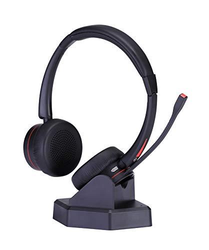 Bluetooth Headset 5.0 mit Mikrofon, Stereo Wireless Headset für PC Laptop Handy, OverEar Kabellos Kopfhörer mit Rauschunterdrückung, für Homeoffice LKW-Fahrer Smartphone Phone Skype Chat Call Center