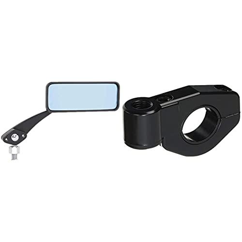 タナックス バイクミラー ナポレオン ボールジョイントミラー(角) ブラック ブルー鏡 左右共通 10mm 正ネジ AMB-104-10 & バイクミラー ナポレオン ステーホルダー ブラック SA-18【セット買い】