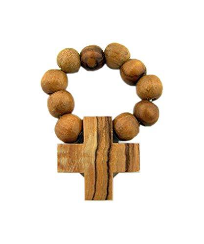 CB Mens Womens Light Olive Wood Prayer Finger Rosary Ring Catholic Devotional Gift