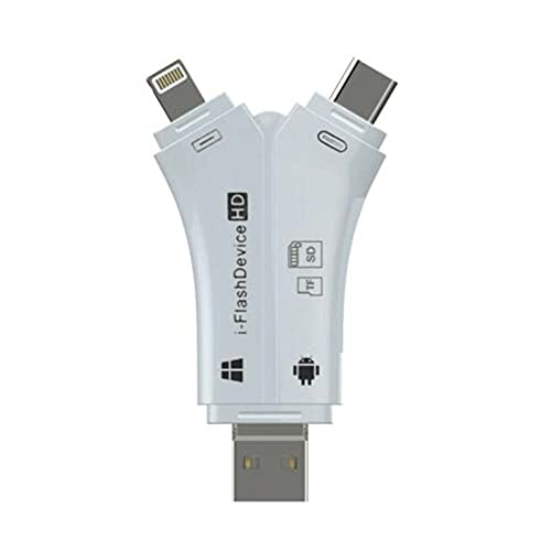 Lector de tarjetas SD, 4 en 1 i-Flash Drive USB CD/Micro CD TF lector de tarjetas de memoria adaptador con tipo C/USB 2.0 para Android Iphone cámara