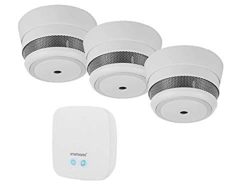 Juego de protección contra Incendios con aplicación de Smarthome: 3 detectores de Humo Mini + estación Base Gateway