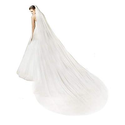 Bridal Wedding Veil 2T Trailing Long Cut Edge with mental Comb Ivory