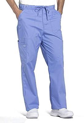 Cherokee Workwear Professionals Men's Tapered Leg Drawstring Cargo Scrub Pant, M, Ciel Blue