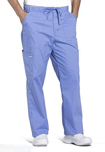 Cherokee Workwear Professionals Men's Tapered Leg Drawstring Cargo Scrub Pant, L, Ciel Blue
