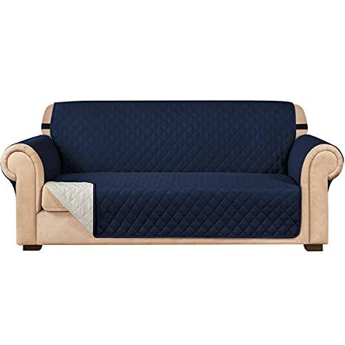 subrtex Funda de sofá Reversible Acolchada para 1,2,3 plazas Funda de Silla para Mascotas y niños con Correas Elásticas Protector de Muebles (2 Plazas, Armada)