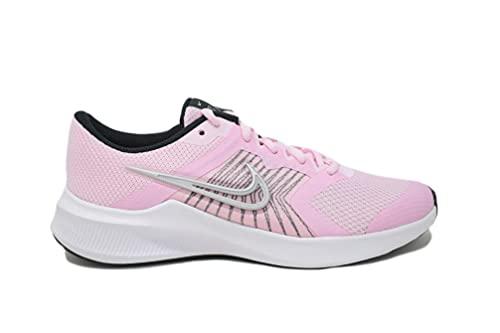 Nike Downshifter 11 GS, Zapatillas Deportivas, Pink Foam Mtlc Silver Black White, 35.5 EU