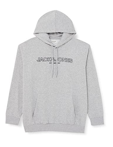 JACK & JONES PLUS JJBANK Sweat Hood PS Sweatshirt Capuche, Gris Clair chiné, 4XL Homme