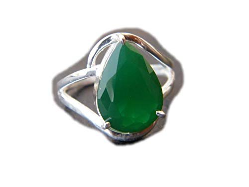 The Best Jwellery Green Onyx Ring, Silver Plated Ring, Handmade Ring, Women Jewelry, Gemstone Ring (Size- 7.5 USA) BRS-5448