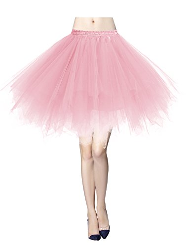 Gardenwed Tutu Tüllrock Damen 50er Rockabilly Petticoat Tutu Unterrock Vintage Ballet Blase Tanzkleid Ballkleid Abendkleid Gelegenheit Zubehör Pink XL