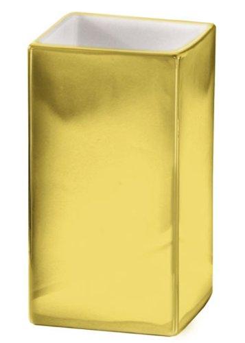 Kleine Wolke # 5065 125 852 - Bicchiere da Bagno Rettangolare della Gamma Glamour in Porcellana Dorata, Colore: Dorato/Bianco