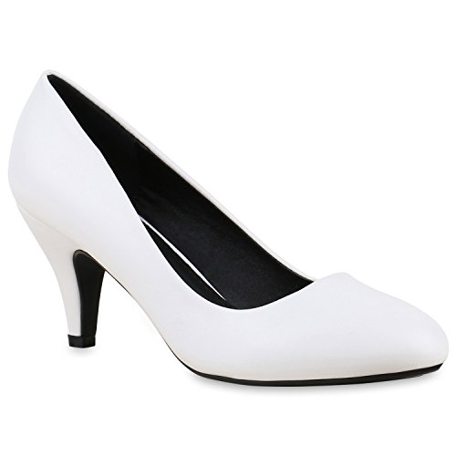 Damen Spitze Pumps High Heels Lack Glitzer Kitten Heels Party Stilettos Elegante Abend Fransen Schuhe 133232 Weiss Agueda 40 Flandell