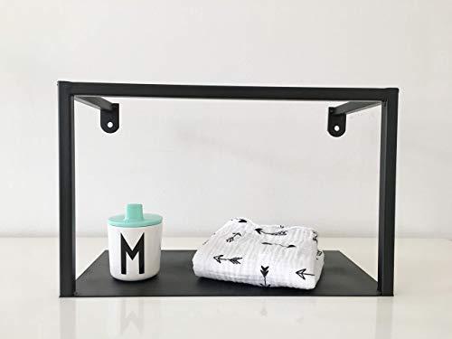 Metallregal schwarz im Industriedesign als Wandregal, Küchenregal oder Badezimmerschrank verwendbar, Stahlrohr Regal im Bauhausstil