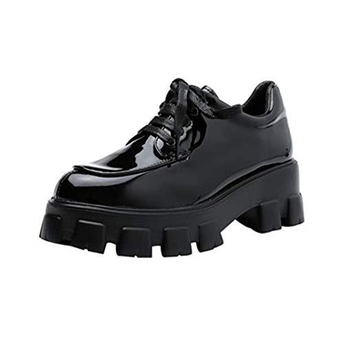 Zapatos Casuales de Charol para Mujer, Suela Gruesa Antideslizante al Aire Libre, Aumento de Altura, Zapatos de cuña para Mujer con Cordones y Parte Superior Baja