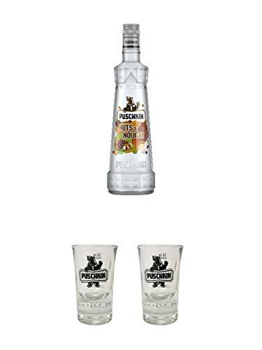Puschkin Nuts & Nougat 0,7 Liter + Puschkin Shotglas mit Eichstrich 2cl + Puschkin Shotglas mit Eichstrich 2cl