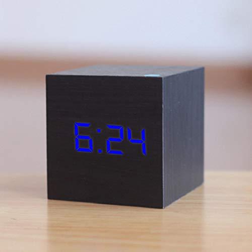 Nuevo Reloj Despertador LED de Madera Digital Reloj Luminoso Retro de Madera Decoración de Mesa de Escritorio Control de Voz Función de repetición Herramientas de Escritorio C