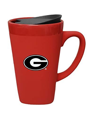 The Fanatic Group University of Georgia Ceramic Mug with Swivel Lid, Design 1 - Red