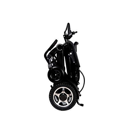 Hyl Sillas de Ruedas Silla de Ruedas eléctrica Plegable, Marco de Aluminio de aviación, Control Remoto del teléfono móvil,Silla de Ruedas Plegable,frenado automático, (Color : Black, Size : #8)
