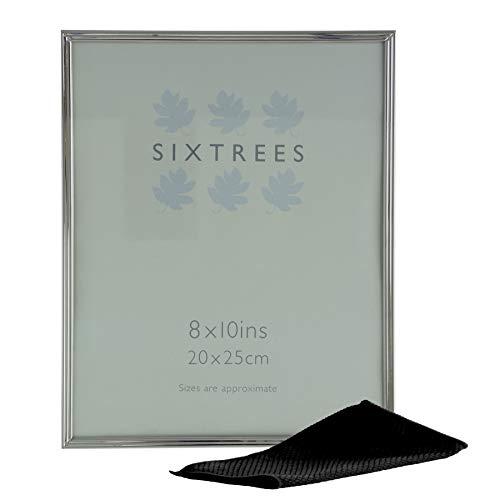 Sixtrees Brixton 6-353-80 - Cornice portafoto in rilievo in argento nichelato, 25,4 x 20,3 cm, con panno in microfibra per lucidare.