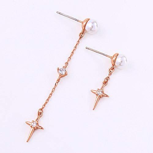 Erin Earring Pendientes De Perlas Acrílicas para Mujer, Personalidad Asimétrica, Circón, Pendientes De Gota De Color Oro Rosa, Joyería De Moda Hipoalergénica