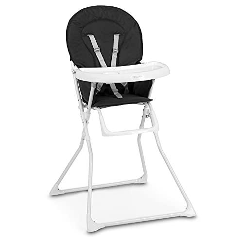 Ricokids Kinderhochstuhl Baby Kinderstuhl Babystuhl , Verstellbar und Klappbar, Fußstütze, Abnehmbares Tablett Polster Fando (Schwarz
