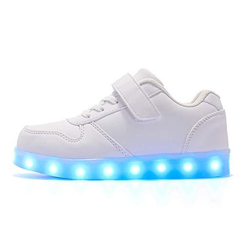 NEYOU Zapatillas de deporte con luces LED transpirables y intermitentes, con luces USB cargables, 2 blancos., 26 EU