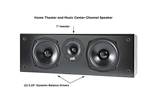 Polk Audio T30 100 Watt Home Theater Center Channel Speaker (Single) - Premium Sound at a Great Value   Dolby and DTS Surround