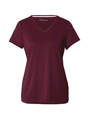 ESPRIT Sports Womens T Edry Hiking Normal Shirt, 600/Bordeaux Red, M