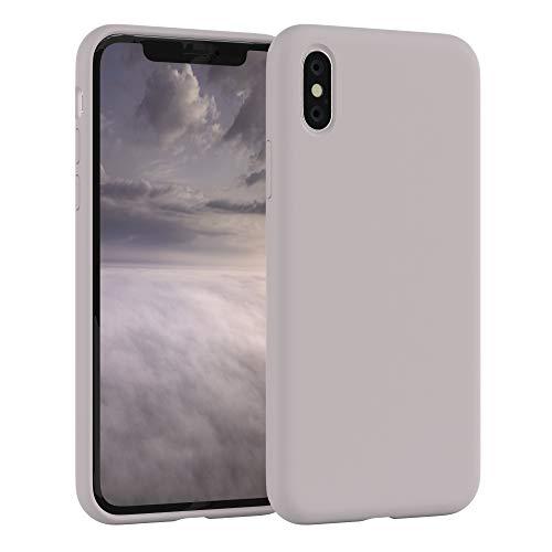 EAZY CASE Premium Silikon Handyhülle kompatibel mit Apple iPhone X/XS, Slimcover mit Kameraschutz & Innenfutter, Silikonhülle, Schutzhülle, Bumper, Handy Case, Hülle, Softcase, Rosa Braun
