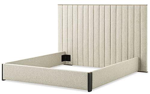 Casa Padrino Estructura de Cama Doble de Lujo con cabecero Natural/latón/Gris Antracita 224 x 224 x A. 145,5 cm - Muebles de Dormitorio - Muebles de Hotel - Calidad de Lujo