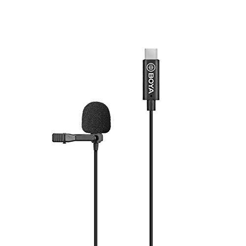 BOYA BY-M3-OA Plug and Play Microfono lavalier omnidirezionale Microfono digitale con risvolto Clip-on Spina USB di tipo C compatibile con DJI OSMO Action Camera per registrazioni video su film Vlog