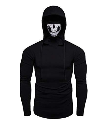 Sweat-Shirt Grande Taille Ninja Sweats à Capuche Call of Duty Skull Mask pour Hommes À Capuche Élastique Noir_M