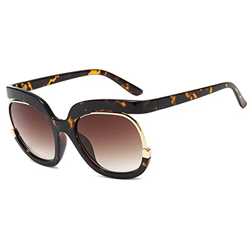 JINZUN Gafas de Sol de Moda con Montura Grande, Gafas de Sol de Moda, sombrilla Anti-Ultravioleta, Espejo, Gafas Unisex, Estampado de Leopardo