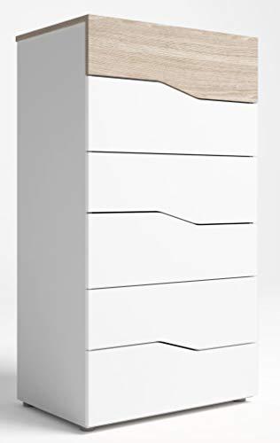 Miroytengo Comoda Asym 6 cajones Color Blanco y Sable sifonier diseño Moderno 62x41x112 cm
