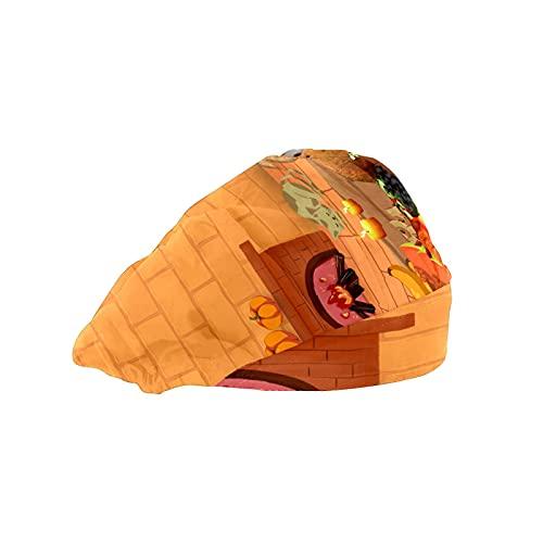 Gorra de mujer para cabello largo con banda elástica ajustable para el sudor, gorras de trabajo para hombres de trabajo bufanda de cabeza impresa 3D sombreros de Acción de Gracias día de fiesta cena