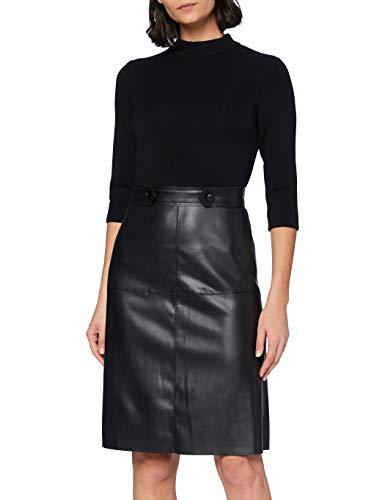 APART Fashion Damen Dress with Fake Leather Cocktailkleid, Black, 36