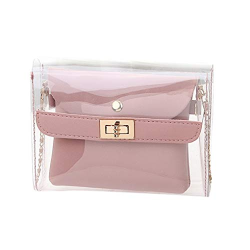Messenger Bag/Doircal Damen Tasche Shopping Portable Transparente Umhängetasche Mode Mini Kleine Umhängetasche Transparente Mädchen Cute Bag Handtaschen(Rosa,18.5cmx5cmx15cm EU)