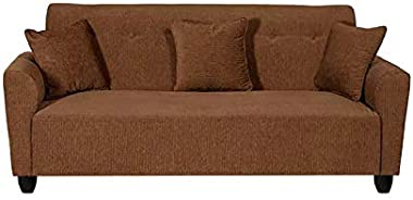 LAAVIN Curve 3 Seater Brown Fabric Sofa