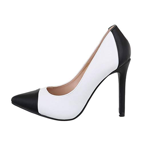 Ital-Design Damenschuhe Pumps High Heel Pumps Synthetik Weiß Schwarz Gr. 41