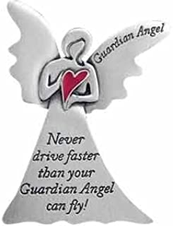 Auto VISOR Clip GUARDIAN ANGEL with Red HEART