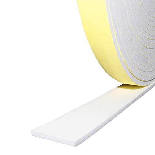 """Foam Insulation Tape Adhesive, Weather Stripping for Doors,Seal,Weatherstrip,Waterproof,Plumbing,HVAC,Windows,Pipes,Cooling,Air Conditioning,Weather Stripping,Craft Tape, White (33 Ft x 1/8"""" x 1"""")"""
