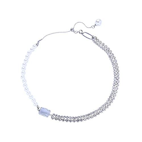collar Collares De Gargantilla De Cadenas De Empalme De Cristal De Perlas Acrílicas Únicas Para Mujer, Collar Con Colgante De Cristal Geométrico, Joyería De Moda