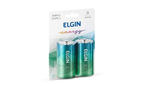 Kit Pilhas Alcalinas com 2X Tipo D Grande, Elgin, Baterias