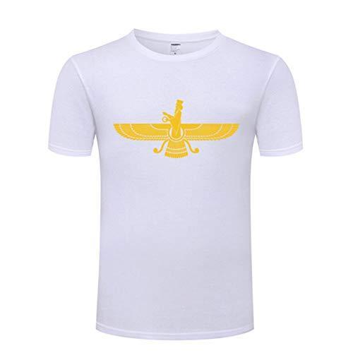 Mele & Co Farvahar Zarathustra Symbol Iran Persien MännerT-Shirt iranische persische zoroastrische Männer Baumwolle Kurzarm T-Shirt Street Plus Size-Spitze T,White 1,S