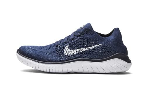 Nike Men's Free RN Flyknit 2018 Running Shoes (11, Navy/White)