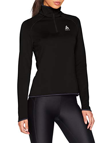 Odlo Damen Midlayer 1/2 Zip Carve WARM Pullover, Black, S