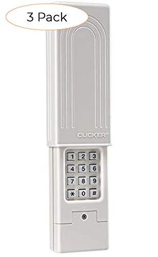 Chamberlain Group Clicker Universal Keyless Entry KLIK2U-P2, Works with Chamberlain, LiftMaster, Craftsman, Genie and More, Security +2.0 Compatible Garage Door Opener Keypad, White (Thrее Расk)