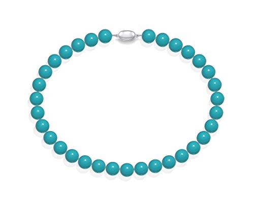 Schmuckwilli Südsee Tahiti Damen Muschelkernperlen Perlenkette aus echter Muschel türkis blau 45cm 12mm mk12mm087-45