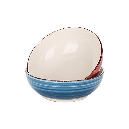 vancasso Serie Bella Cuencos Grandes 2 Piezas 1650ML Ensaladera, Cuencos para Sopa, Tazones Frutas, Ensalada, Ramen Bowl Color Azul y Rojo