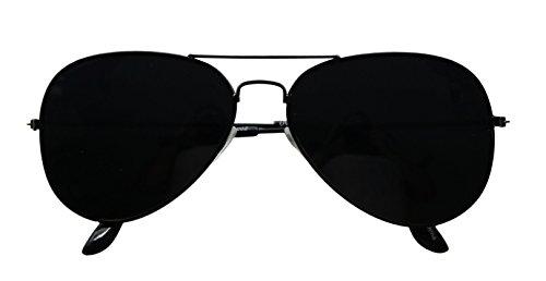 ShadyVEU Super Dark Lens Aviator Sunglasses Retro UV400 Blackout Classic Metal Frame Pilot Shades (Black Frame, Super Dark Black Lens)